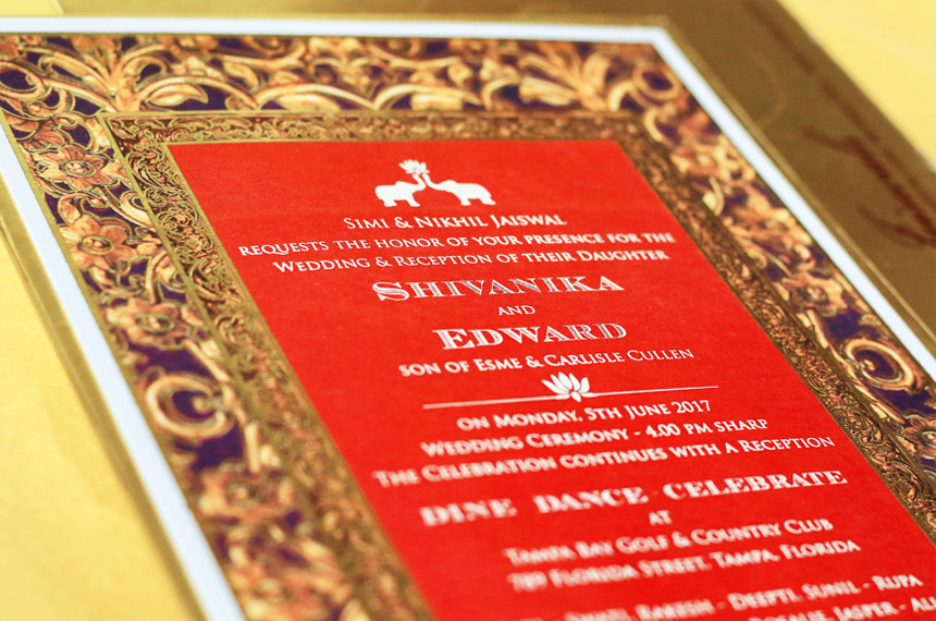 Indian elite wedding invitation designer studio | Teal Mauve Crimson